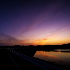儀間ダムの夕焼け